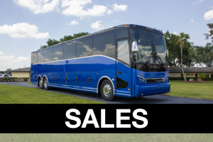 Sales banner over Blue motorcoach image